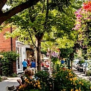 sidewalk scene in Niagara On The Lake, people walking and others sitting on a bench. Showing trees and flower displays outside along the sidewalk