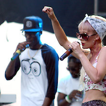 Hip Hop performer L.B. shares the stage with BL'EVE Brown at the One Love Order @ The Border music festival in Niagara Falls, Saturday, July 5. This was the first year for the three-day music festival held in The Grove, a new Niagara Parks Commission outdoor venue. Photo: Corey Larocque
